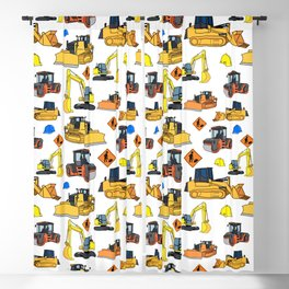 Construction Vehicles Pattern Blackout Curtain