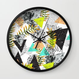 Triangles and plants Wall Clock