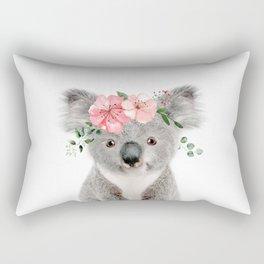 Baby Koala with Flower Crown Rectangular Pillow