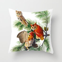 Little Screech Owl Throw Pillow