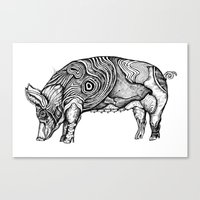 pig Canvas Prints featuring Pig by Ejaculesc