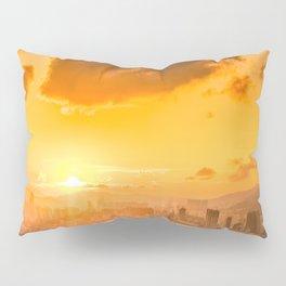 warm color tone orange sunset over hong kong urban city skyline at seafront Pillow Sham