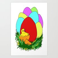 Eggs and Chick Art Print