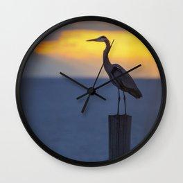 Blue Heron at Sunrise Wall Clock