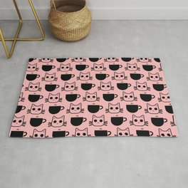 'Cat and Coffee Mug Pattern' (Pink) Rug
