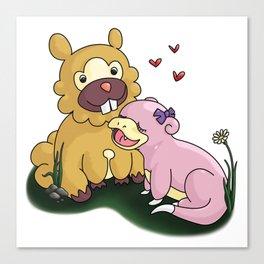 Bidoof and Slowpoke Love Canvas Print