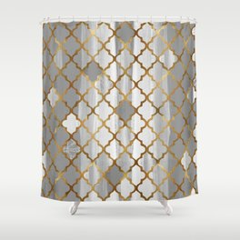 Moroccan Tile Pattern In Grey And Gold Shower Curtain