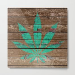 Chipped Paint Cannabis Leaf Metal Print