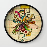 notebook Wall Clocks featuring Notebook World by Duru Eksioglu