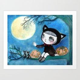 Full Moon Halloween Party Art Print