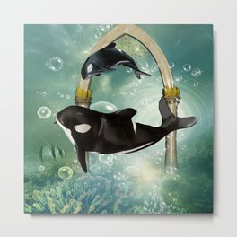 Wonderful orcas in the deep ocean Metal Print