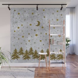 Sparkly Christmas tree, stars, moons on abstract paper Wall Mural