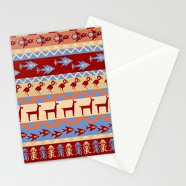 Inca Animals Fish and Birds Pattern Stationery Cards