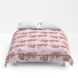 Lazy Baby Sloth Pattern in Pink Comforters
