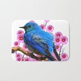 DECORATIVE BLUE BIRD & PINK HOLLYHOCKS VIGNETTE Bath Mat