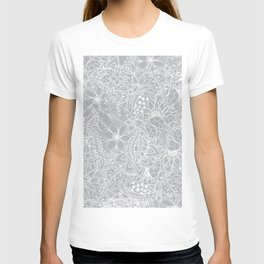 Modern trendy white floral lace hand drawn pattern on harbor mist grey T-shirt