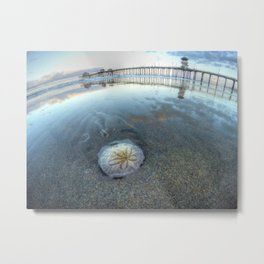 Chris Harsh Photos * A Low Tide Sand Dollar * Huntington Beach Pier  Metal Print