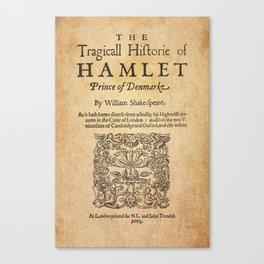 Shakespeare, Hamlet 1603 Canvas Print