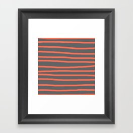 Simply Drawn Stripes Deep Coral on Storm Gray Framed Art Print