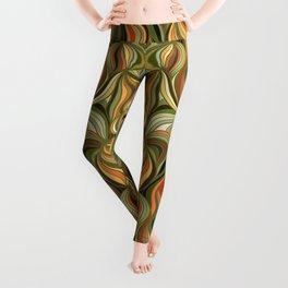 Boho Green & Red Wave Pattern Leggings
