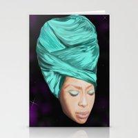 erykah badu Stationery Cards featuring Badu by Courtney James