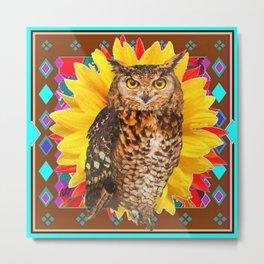 COFFEE BROWN SUNFLOWER ART DECO OWL Metal Print