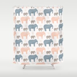 Pink and Blue Kids Elephants Silhouette Seamless Shower Curtain
