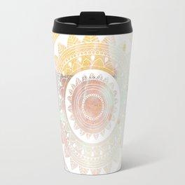 Ukatasana white mandala on pink Travel Mug