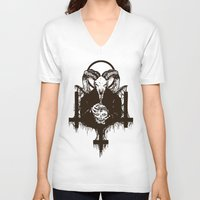 satan V-neck T-shirts featuring Satan by Lunaramour