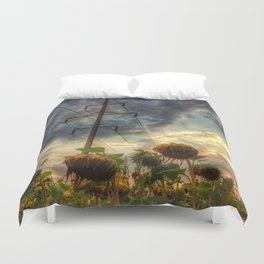 field of faded sunflowers  Duvet Cover