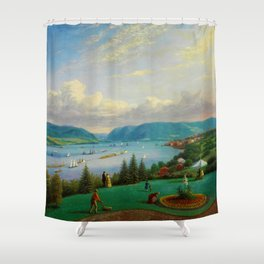 1872 Classical Masterpiece Landscape 'Newburgh on the Hudson River' by George Harvey Shower Curtain