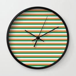 Irish Tricolour Horizontal Stripes Green Orange and White Irish Flag Wall Clock