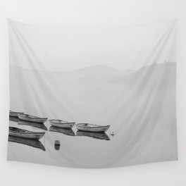 Small boat lake black white Wall Tapestry