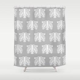 Human Rib Cage Pattern Gray Shower Curtain