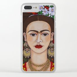 Frida with butterflies Clear iPhone Case