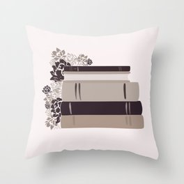 Neutral Book Stack Throw Pillow