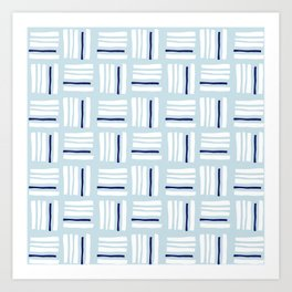 Stripes×Checkered Pattern_Ice blue&Navy Art Print