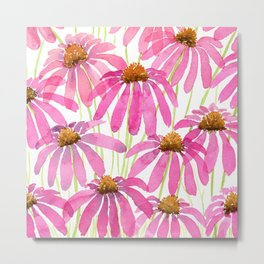 Pink Coneflowers On White - Watercolor Floral  Metal Print