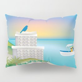 Tulum, Mexico - Skyline Illustration by Loose Petals Pillow Sham