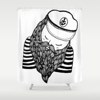 captain silva Shower Curtains featuring Captain by Moran Bazaz