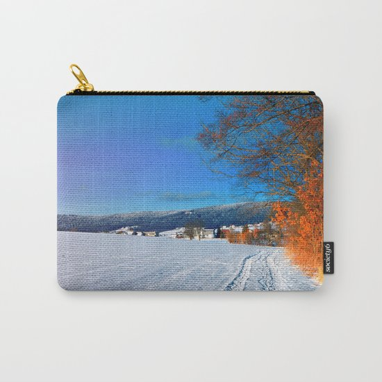 Hiking through a sunny winter scenery Carry-All Pouch