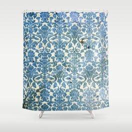 Vintage Antique Blue Wallpaper Pattern Shower Curtain