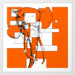 Orange is the New Elephant Art Print