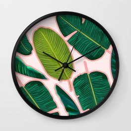 Banana Leaf Blush #society6 #decor #buyart Wall Clock