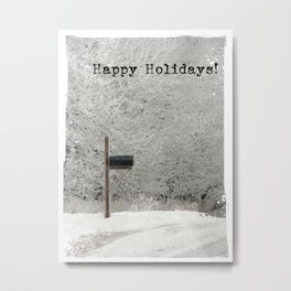 Happy Holidays Frosty Rural Morning Mailbox Metal Print