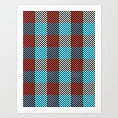 Pixel Plaid - Cranberry Bog Art Print