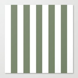 Camouflage green - solid color - white vertical lines pattern Canvas Print