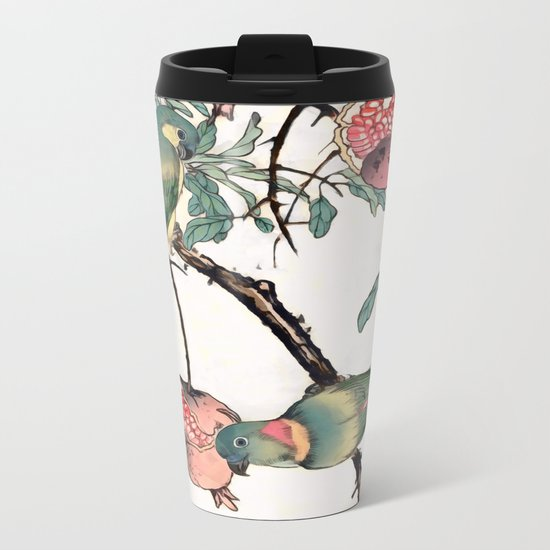 Pomegranate and Lovebirds Metal Travel Mug