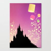 pixar Canvas Prints featuring Pixar Tangled Castle Print with Lanterns by Teacuppiranha