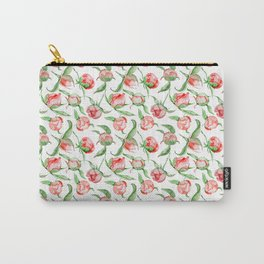 Hand painted white red green watercolor floral Carry-All Pouch